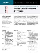 I Simposi sobre literatura comparada catalana i espanyola al segle XX. Gèneres, lectures i relacions (1898-1951)