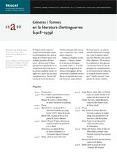 I Simposi sobre traducció i recepció en la literatura catalana contemporània. Gèneres i formes en la literatura d'entreguerres (1918-1939)