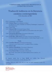 V Simposi sobre traducció i recepció en la literatura catalana contemporània